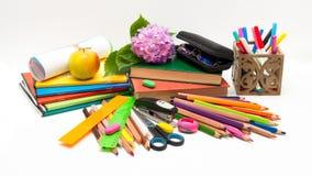 Objetos de la flor y de la escuela de la hortensia. Fotografía de archivo libre de regalías