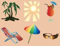 Objetos de la playa stock de ilustración