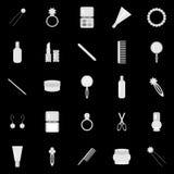 Objetos de la señora en negro Imagen de archivo libre de regalías