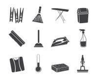 Objetos de la silueta e iconos caseros de las herramientas Imagen de archivo libre de regalías