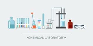 Objetos de la sustancia química de la bandera Cristalería de laboratorio química Fotografía de archivo libre de regalías