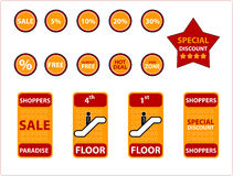 Objetos de las compras - (verificación hacia fuera mi lista para los iconos similares!) Fotografía de archivo