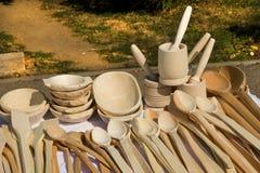 Objetos de madeira da cozinha Fotografia de Stock