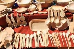 Objetos de madera de la cocina Imágenes de archivo libres de regalías