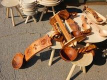 Objetos de madera del hogar Imágenes de archivo libres de regalías
