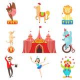 Objetos de rendimiento y caracteres del circo fijados Fotos de archivo libres de regalías