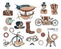 Objetos de Steampunk e coleção do mecanismo: máquina, roupa, povos e engrenagens Ilustração tirada mão do estilo do vintage ilustração royalty free