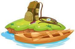 Objetos de Vaious para acampar y una canoa ilustración del vector