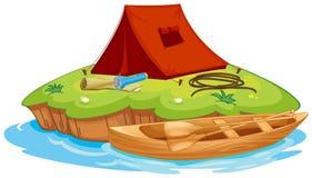 Objetos de Vaious para acampar y una canoa stock de ilustración