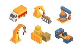 Objetos de Warehouse y sistema del equipo, fabricación inteligente, brazo robótico, ejemplo automatizado del vector del transport stock de ilustración