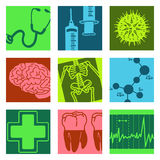 Objetos del arte pop - ciencia y médico Fotografía de archivo libre de regalías