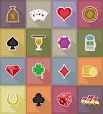Objetos del casino y ejemplo plano de los iconos del equipo Foto de archivo libre de regalías