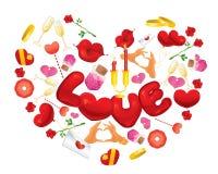 Objetos del día de tarjetas del día de San Valentín Foto de archivo libre de regalías
