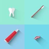 Objetos del diente, del cepillo y de la goma Fotografía de archivo libre de regalías