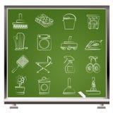 Objetos del hogar e iconos de las herramientas Fotografía de archivo