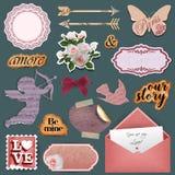 Objetos del libro de recuerdos del día del ` s de la tarjeta del día de San Valentín del vintage libre illustration