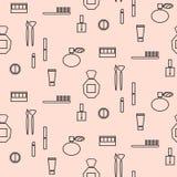 Objetos del maquillaje y modelo inconsútil de los productos stock de ilustración