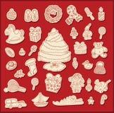 Objetos del tema de la Navidad del dibujo lineal Imagen de archivo libre de regalías