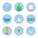 Objetos del vector de la higiene del bebé libre illustration