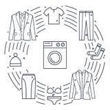 Objetos del vector de la limpieza en seco y del lavadero Concepto único del vector con diversos elementos de la ropa: lavadora, c Imagen de archivo libre de regalías