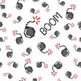 Objetos del vector del arte del pixel para crear el modelo inconsútil de la moda Fondo con las bombas, auge para los muchachos 80 stock de ilustración