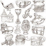 Objetos - desenhos da mão, originais Fotografia de Stock Royalty Free