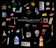 Objetos diferentes ajustados, coleção Fotografia de Stock