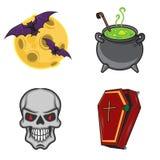 Objetos do ícone dos desenhos animados de Dia das Bruxas Imagens de Stock