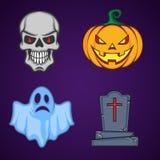 Objetos do ícone dos desenhos animados de Dia das Bruxas Fotos de Stock