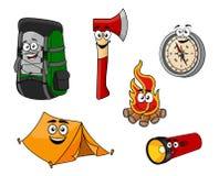 Objetos do acampamento e do curso dos desenhos animados Fotografia de Stock Royalty Free