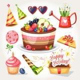 Objetos do aniversário do feriado ilustração do vetor