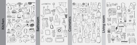 Objetos do banheiro, da cozinha, da mobília e dos cosméticos ilustração royalty free