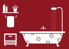 Objetos do banheiro no fundo vermelho Imagens de Stock