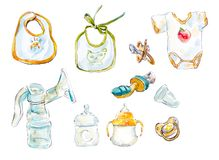 Objetos do bebê do cuidado Ilustração tirada mão da aquarela ilustração royalty free