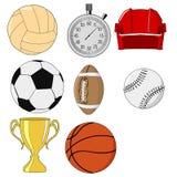 Objetos do esporte ilustração do vetor
