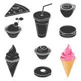 Objetos do fast food, e todos os tipos de doces e de alimentos Imagem de Stock