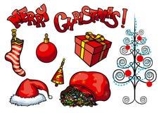 Objetos do Natal ajustados ilustração stock