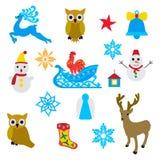 Objetos do Natal sobre o branco Imagens de Stock