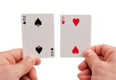 Objetos do pôquer - cartão e microplaquetas imagens de stock royalty free