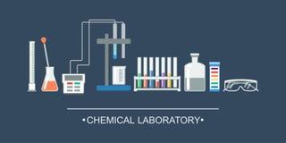 Objetos do produto químico da bandeira Equipamento de laboratório químico, elétrodo do íon Imagens de Stock Royalty Free