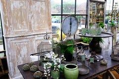 Objetos do projeto do verde do vintage Fotografia de Stock