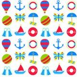 Objetos do verão do mar sobre o branco Imagens de Stock Royalty Free