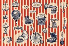 Objetos do vintage ajustados Imagem de Stock Royalty Free