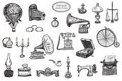 Objetos do vintage ajustados Imagens de Stock
