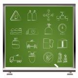 Objetos e ícones do gás natural Foto de Stock