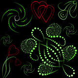 Objetos e corações coloridos com inclinação Imagem de Stock Royalty Free