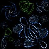 Objetos e corações coloridos com inclinação Fotografia de Stock