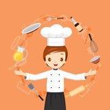 Objetos e iconos de With Kitchen Appliances del cocinero Fotografía de archivo libre de regalías