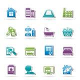 Objetos e iconos de las propiedades inmobiliarias Imagen de archivo