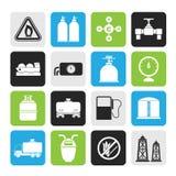 Objetos e iconos del gas natural de la silueta Foto de archivo libre de regalías